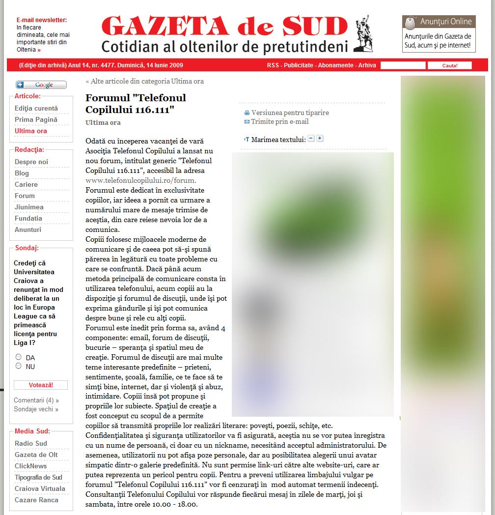 EuroVizionarii: Aparitii Media  |Gazeta De Sud
